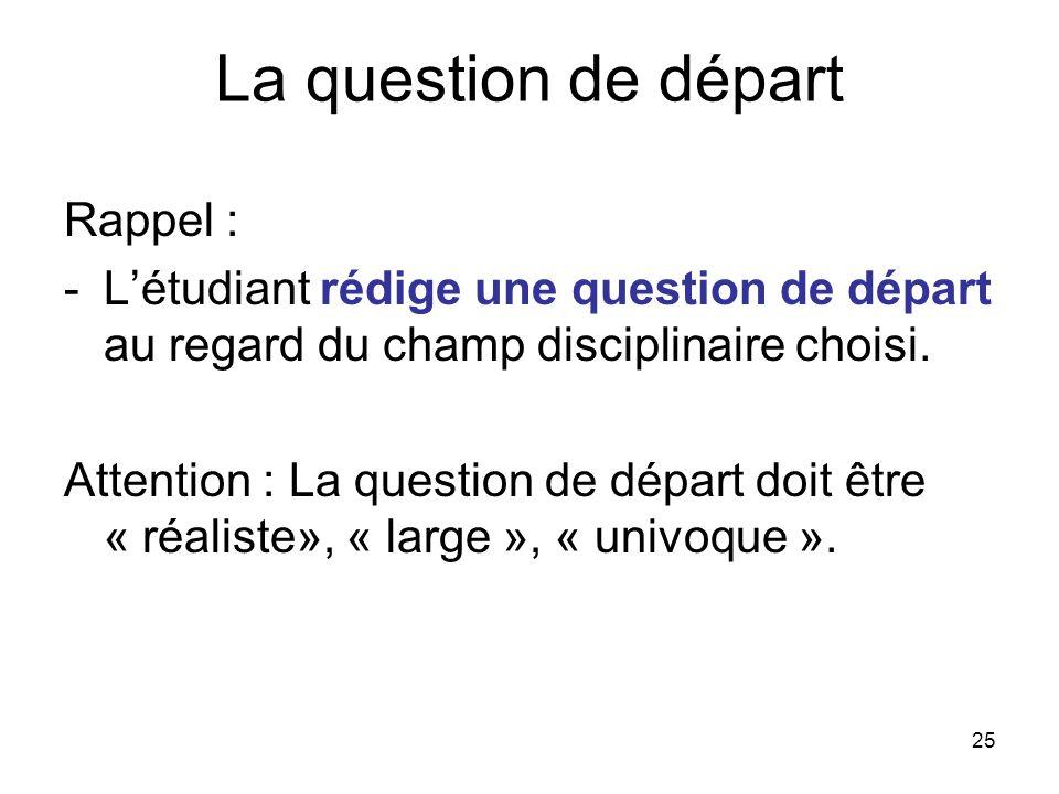 La question de départ Rappel :