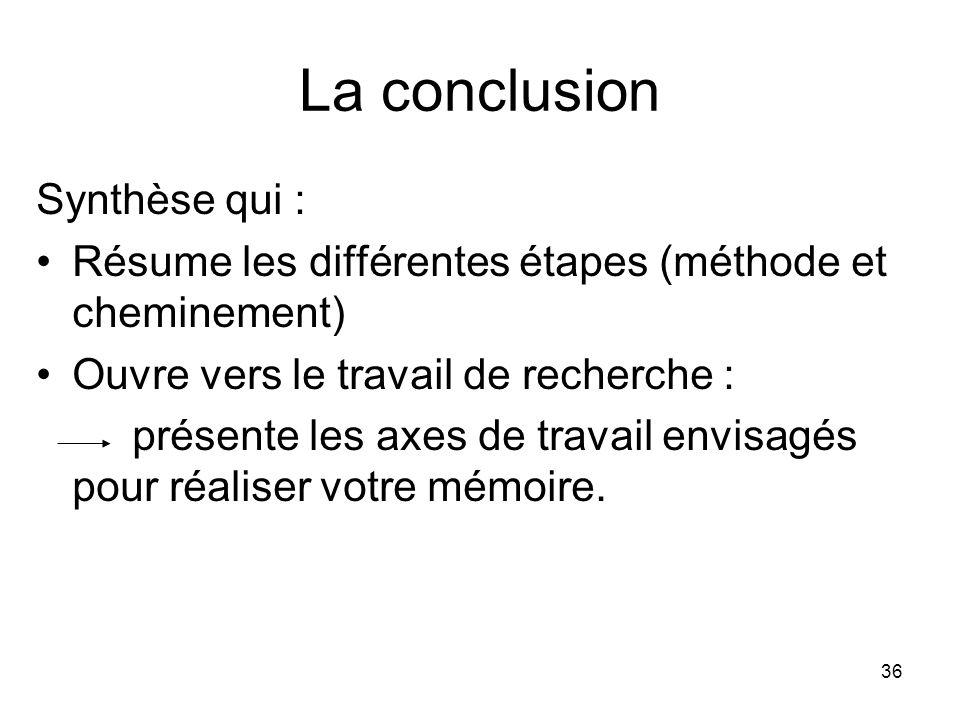 La conclusion Synthèse qui :