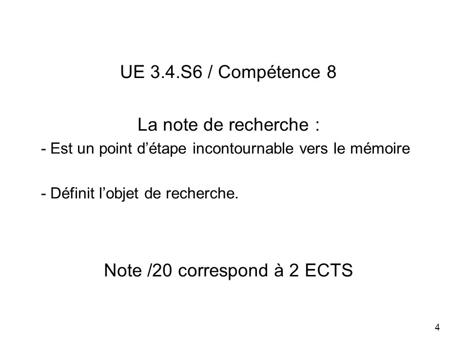 Note /20 correspond à 2 ECTS