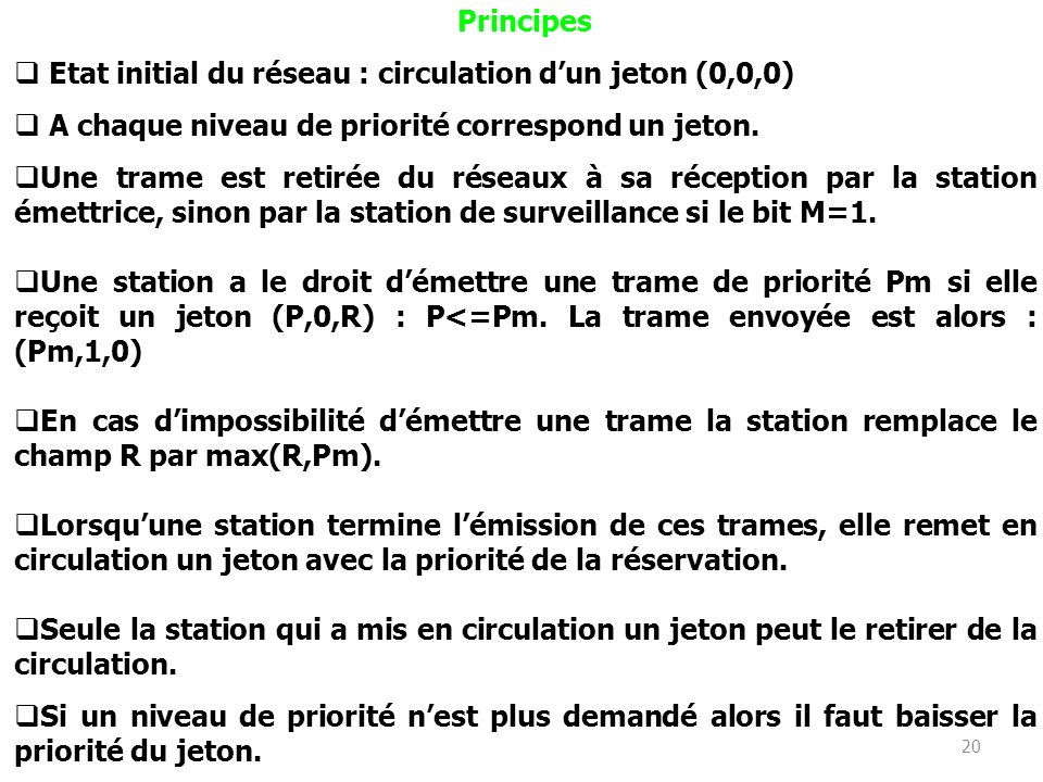 PrincipesEtat initial du réseau : circulation d'un jeton (0,0,0) A chaque niveau de priorité correspond un jeton.