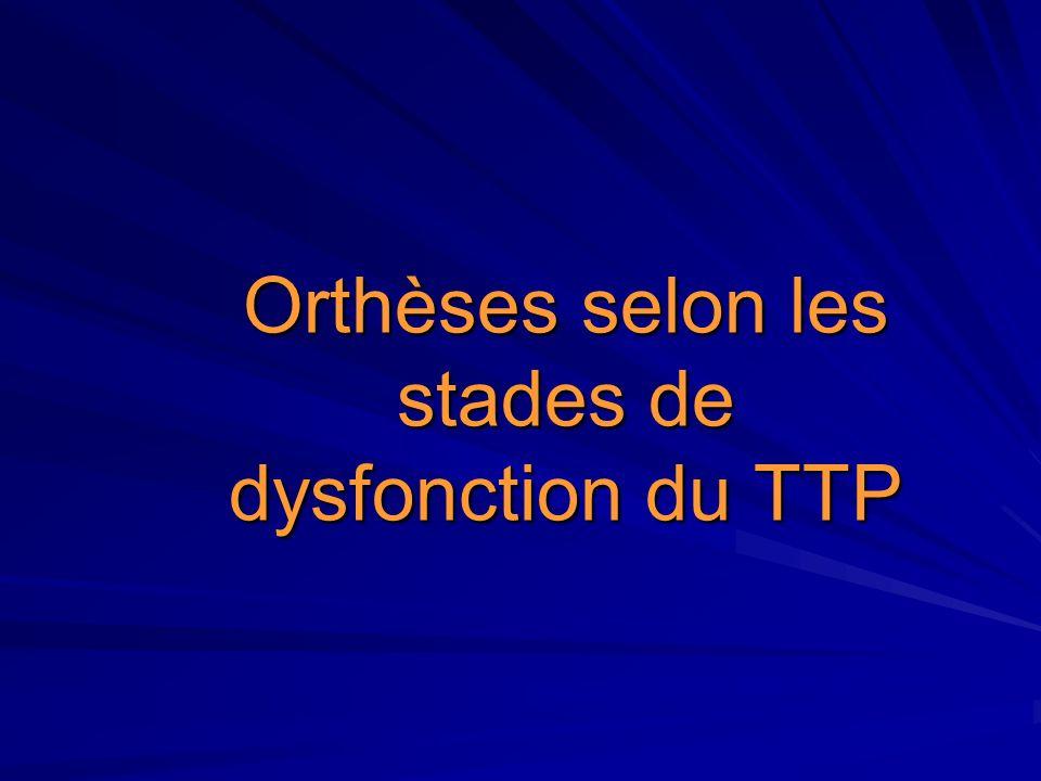 Orthèses selon les stades de dysfonction du TTP