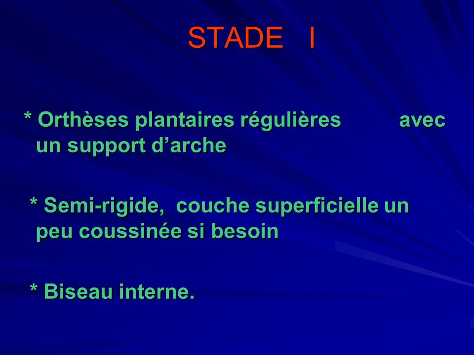 STADE I * Orthèses plantaires régulières avec un support d'arche