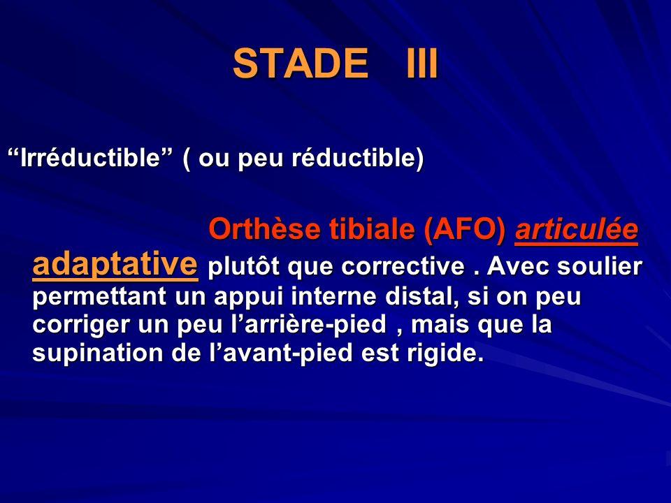 STADE III Irréductible ( ou peu réductible)