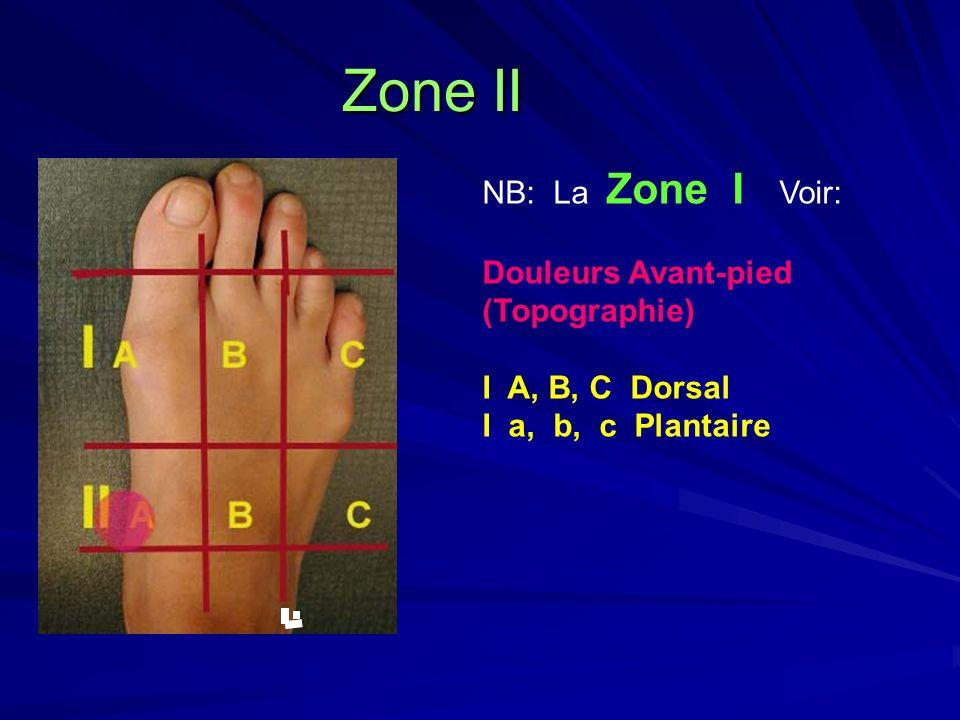 Zone II L NB: La Zone I Voir: Douleurs Avant-pied (Topographie)