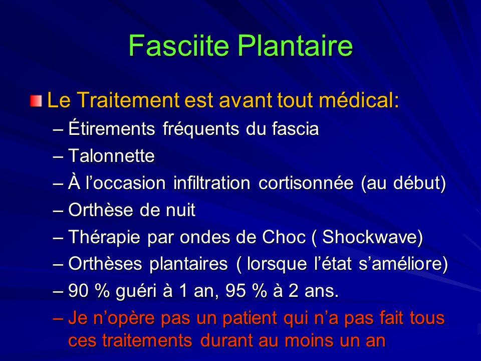Fasciite Plantaire Le Traitement est avant tout médical: