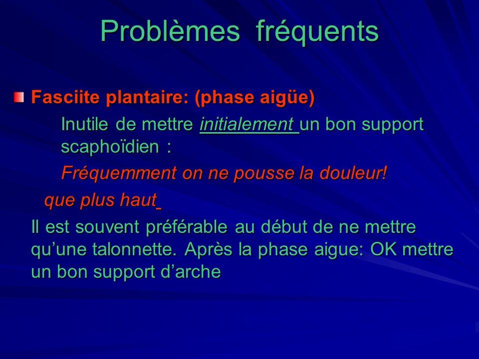 Problèmes fréquents Fasciite plantaire: (phase aigüe)