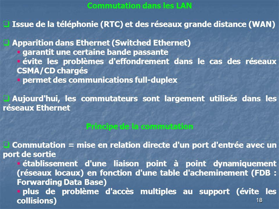Commutation dans les LAN Principe de la commutation