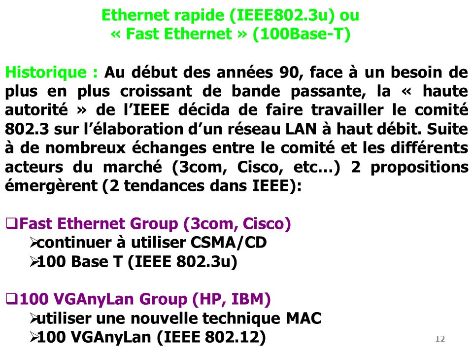 Ethernet rapide (IEEE802.3u) ou « Fast Ethernet » (100Base-T)