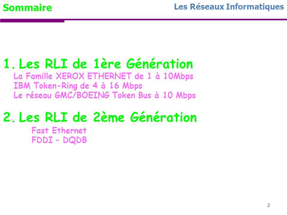 Les RLI de 1ère Génération