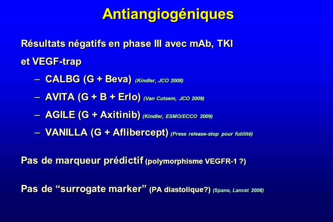 Antiangiogéniques Résultats négatifs en phase III avec mAb, TKI