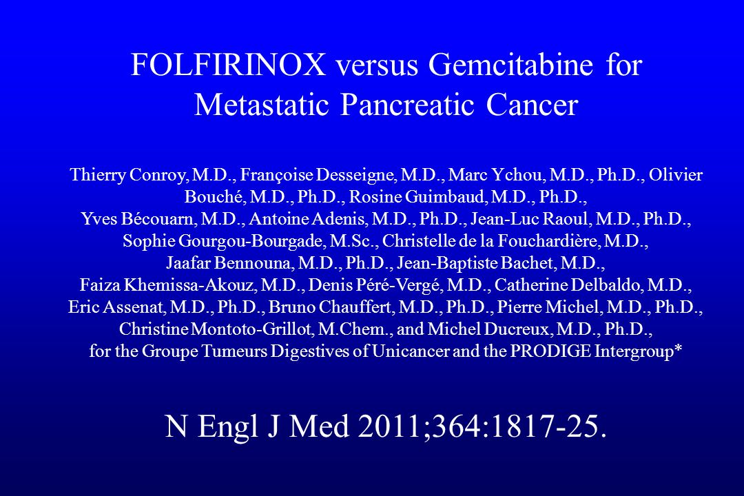 FOLFIRINOX versus Gemcitabine for Metastatic Pancreatic Cancer
