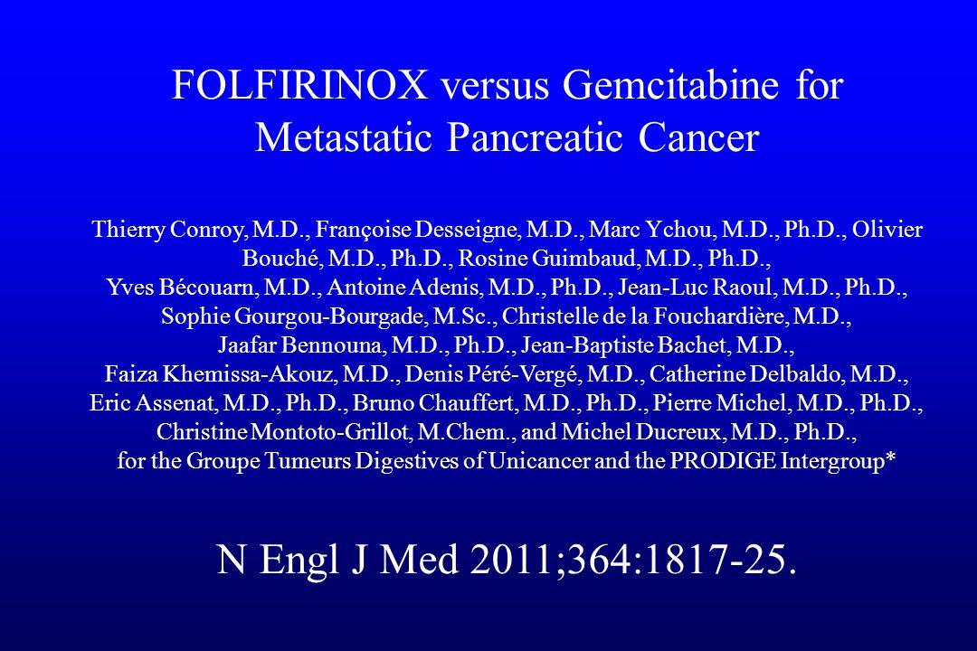 FOLFIRINOX versus Gemcitabine for Metastatic Pancreatic Cancer