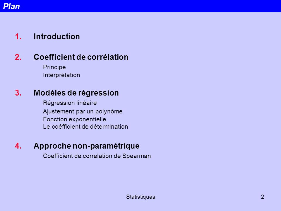 Coefficient de corrélation Principe Interprétation