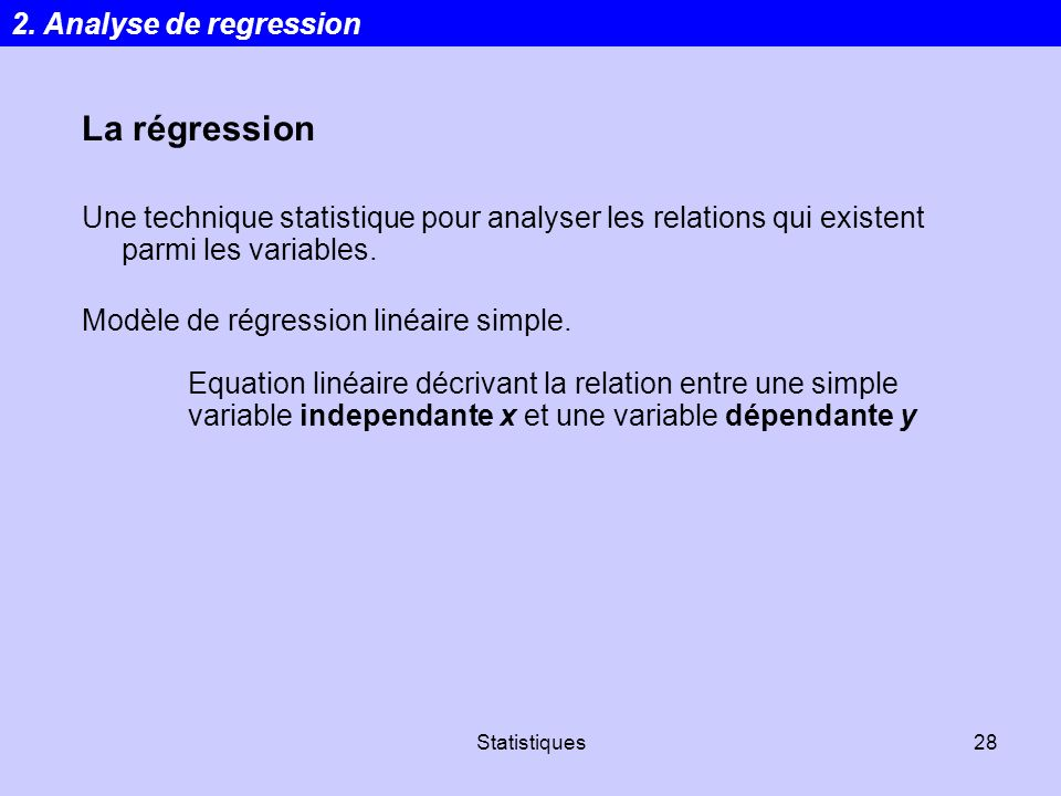 La régression 2. Analyse de regression