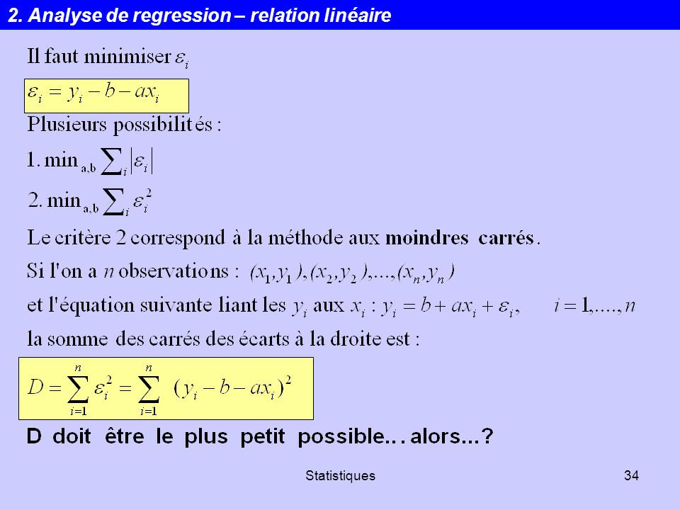 2. Analyse de regression – relation linéaire