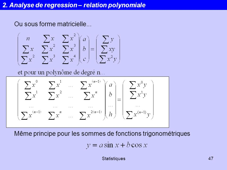 2. Analyse de regression – relation polynomiale