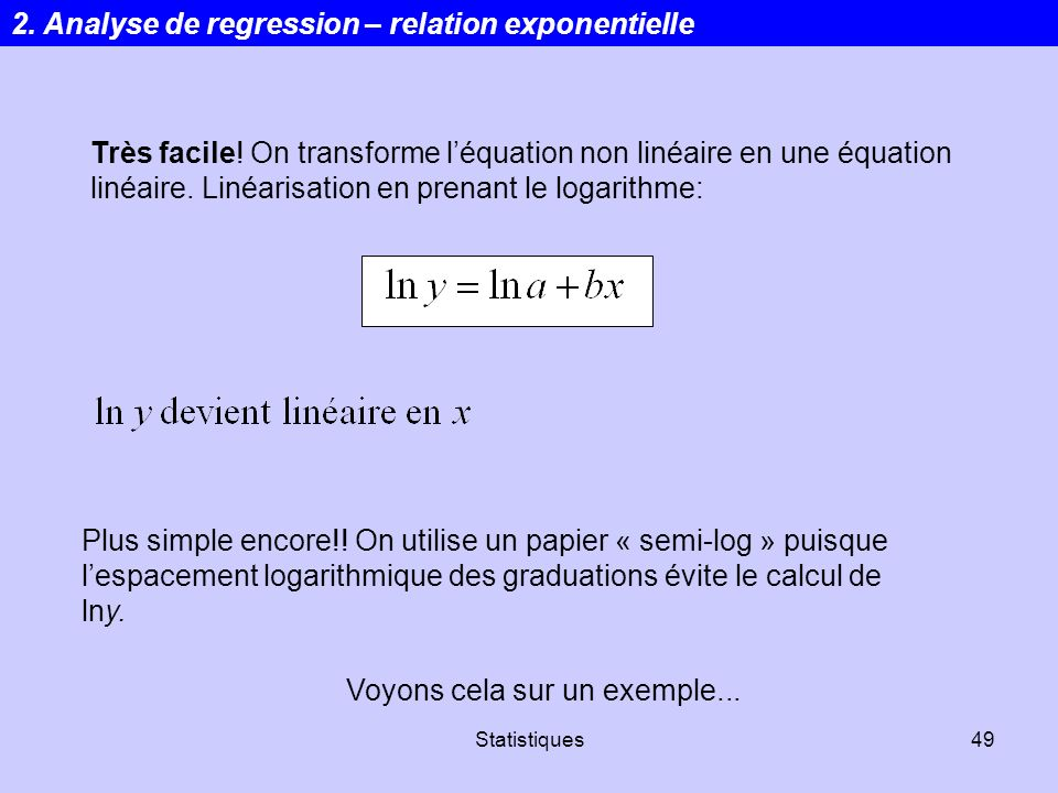 2. Analyse de regression – relation exponentielle