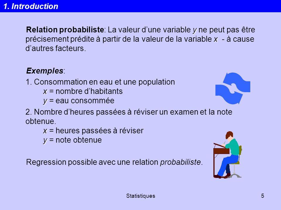 Regression possible avec une relation probabiliste.