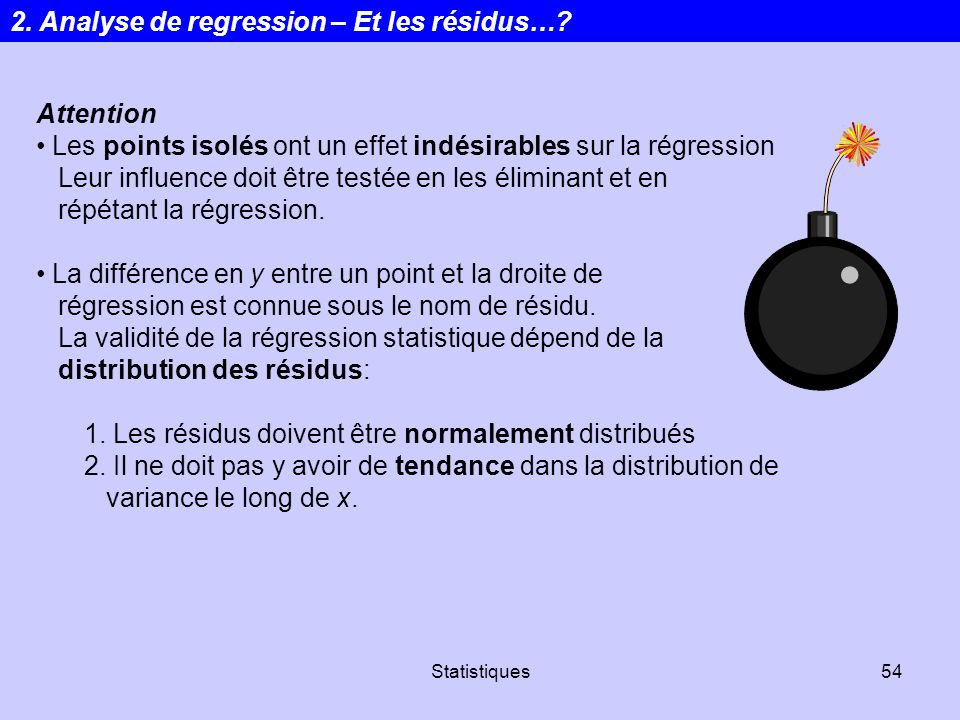 2. Analyse de regression – Et les résidus…