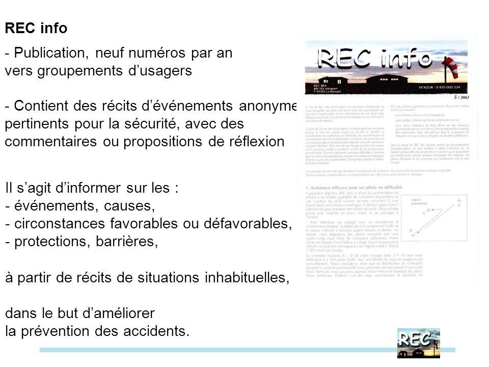 REC info- Publication, neuf numéros par an. vers groupements d'usagers. - Contient des récits d'événements anonymes.