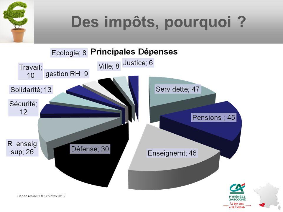 Des impôts, pourquoi Dépenses de l'Etat, chiffres 2013 4