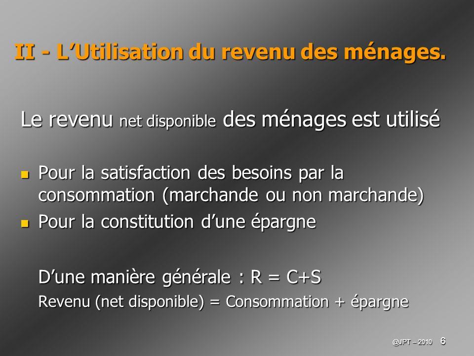 II - L'Utilisation du revenu des ménages.