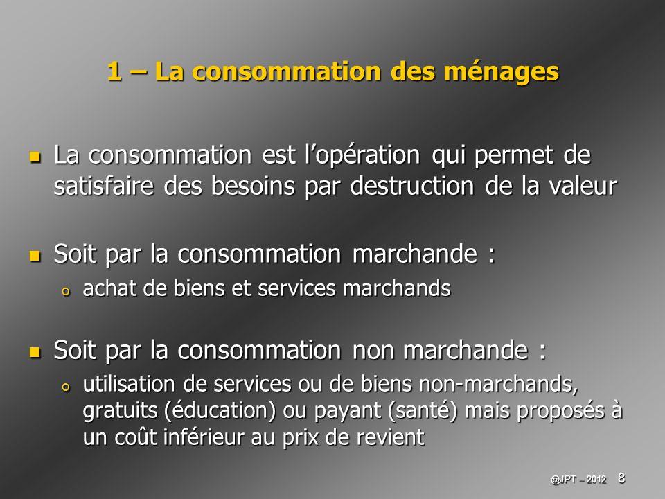 1 – La consommation des ménages