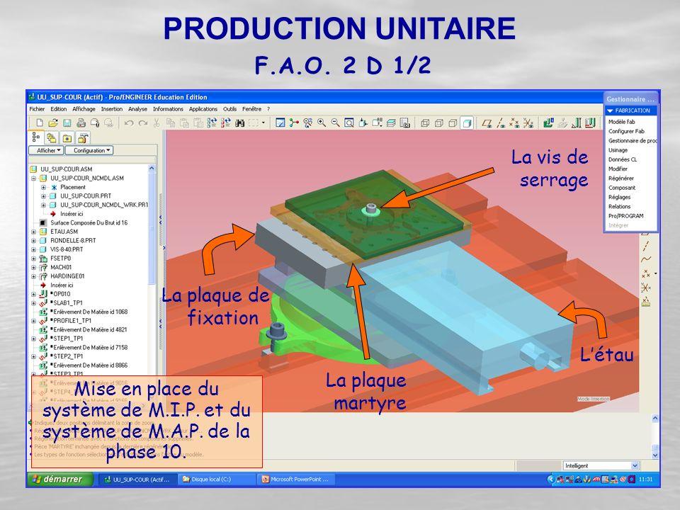 PRODUCTION UNITAIRE F.A.O. 2 D 1/2 La vis de serrage