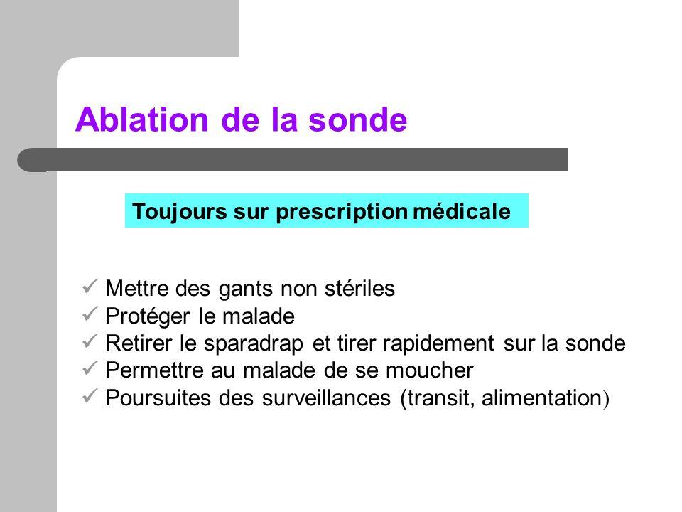 Ablation de la sonde Toujours sur prescription médicale