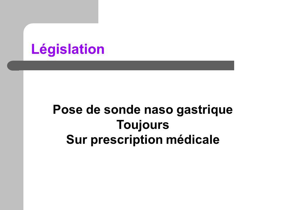 Pose de sonde naso gastrique Sur prescription médicale