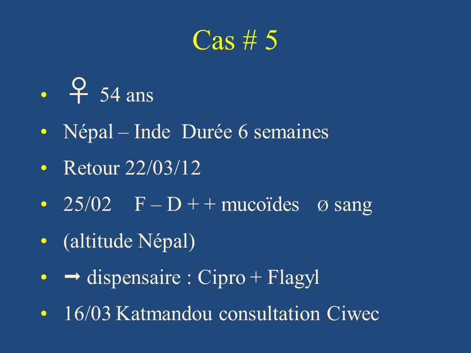 Cas # 5 ♀ 54 ans Népal – Inde Durée 6 semaines Retour 22/03/12