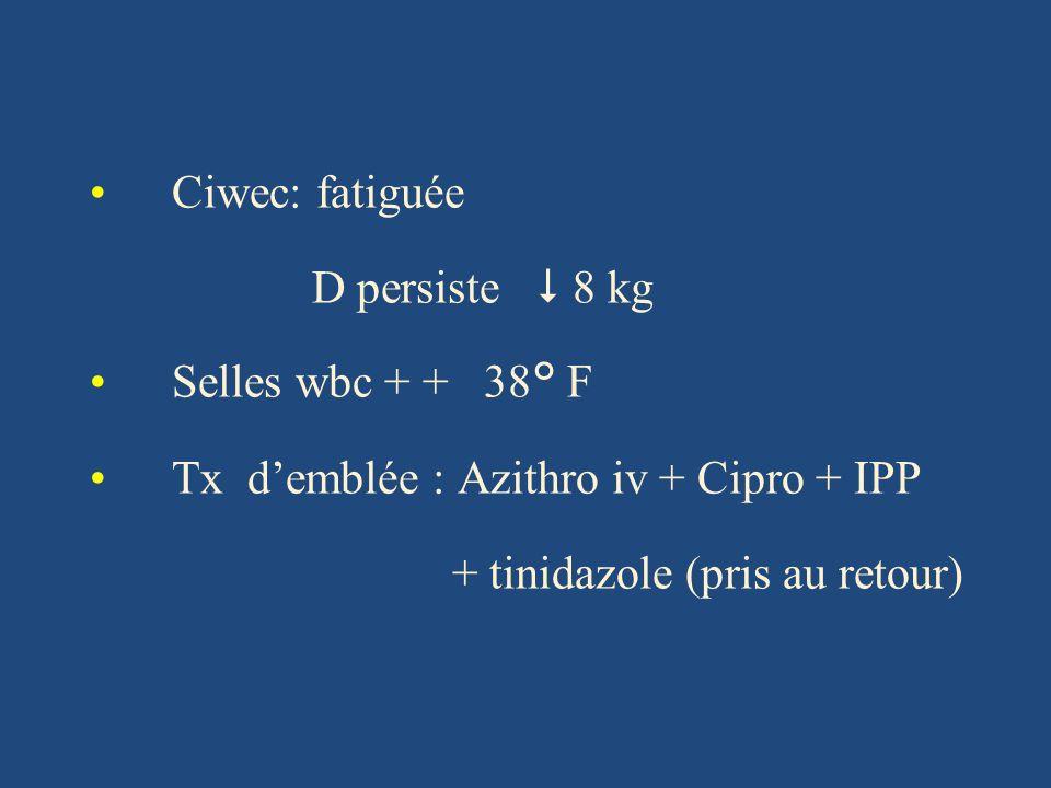 Tx d'emblée : Azithro iv + Cipro + IPP + tinidazole (pris au retour)
