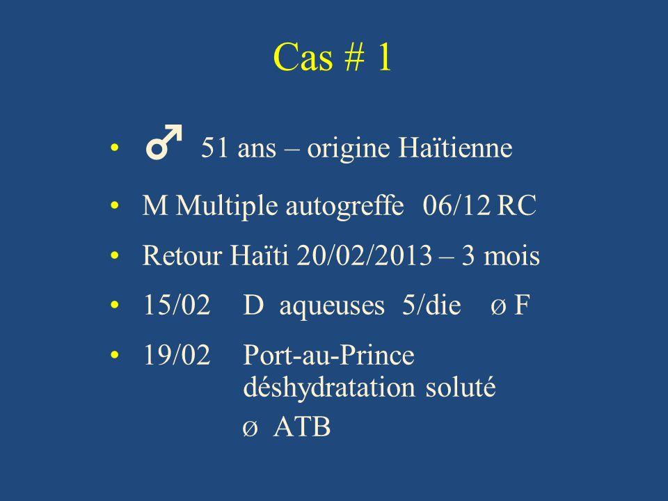 Cas # 1 ♂ 51 ans – origine Haïtienne M Multiple autogreffe 06/12 RC