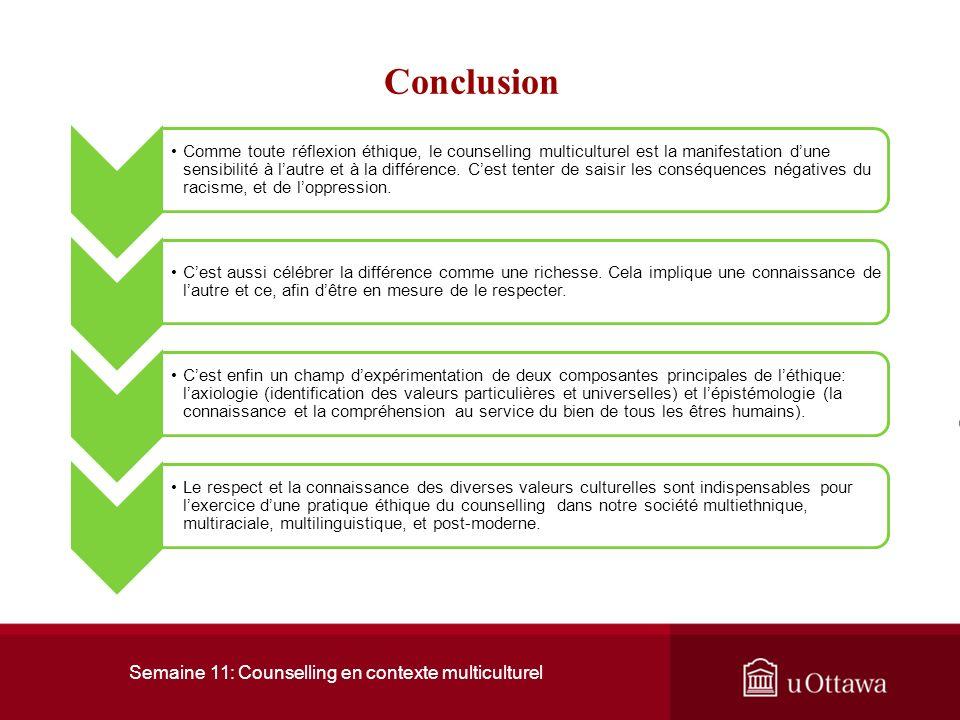 Semaine 11: Counselling en contexte multiculturel