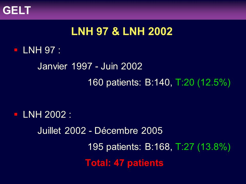 GELT LNH 97 & LNH 2002 LNH 97 : Janvier 1997 - Juin 2002