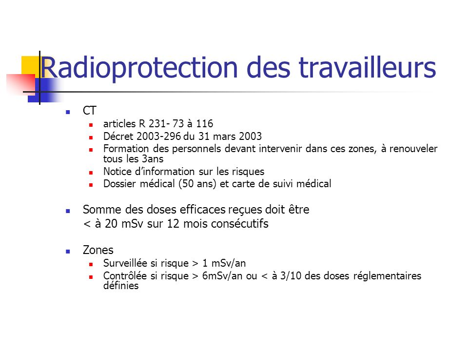 Radioprotection des travailleurs