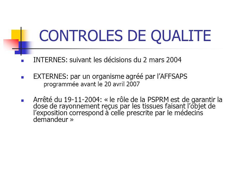 CONTROLES DE QUALITE INTERNES: suivant les décisions du 2 mars 2004