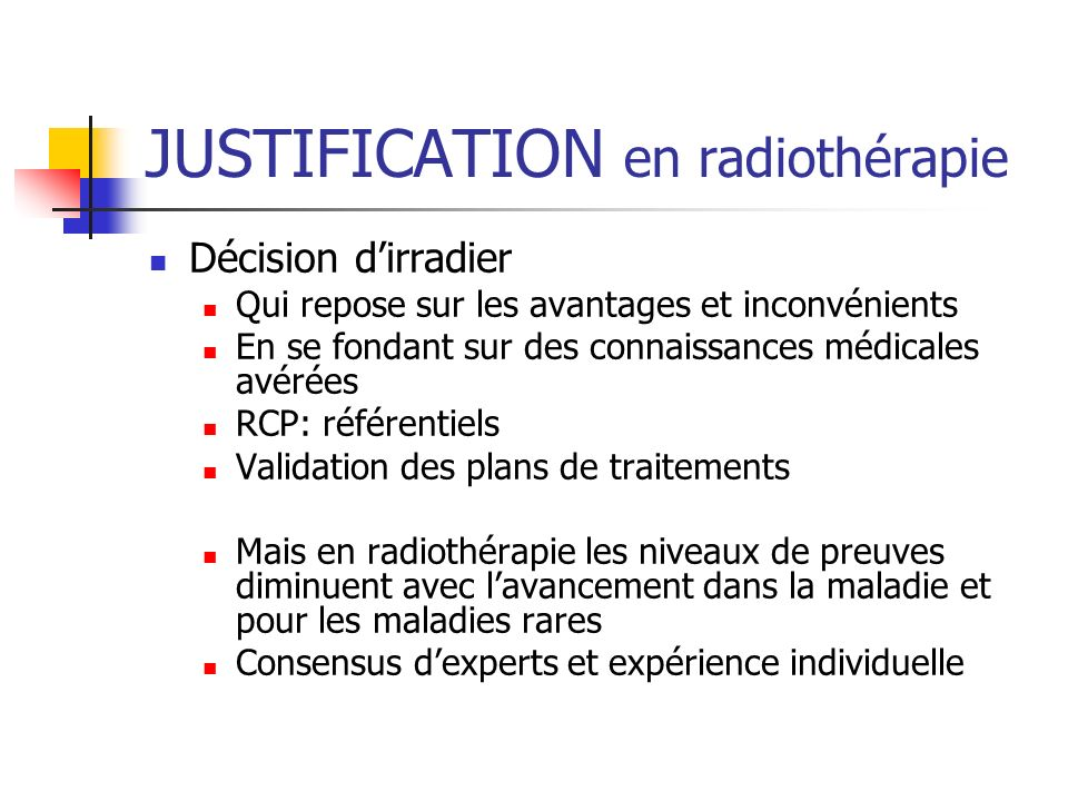 JUSTIFICATION en radiothérapie