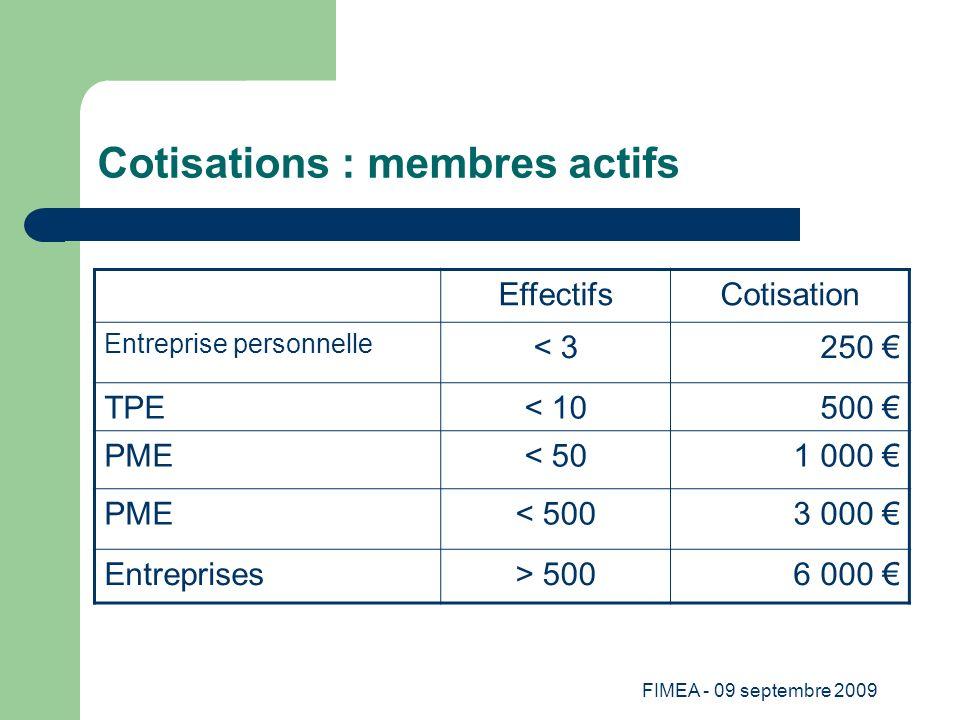 Cotisations : membres actifs