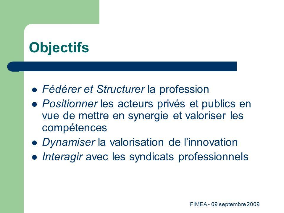 Objectifs Fédérer et Structurer la profession