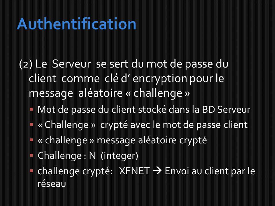 Authentification (2) Le Serveur se sert du mot de passe du client comme clé d' encryption pour le message aléatoire « challenge »