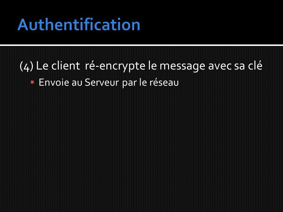 Authentification (4) Le client ré-encrypte le message avec sa clé