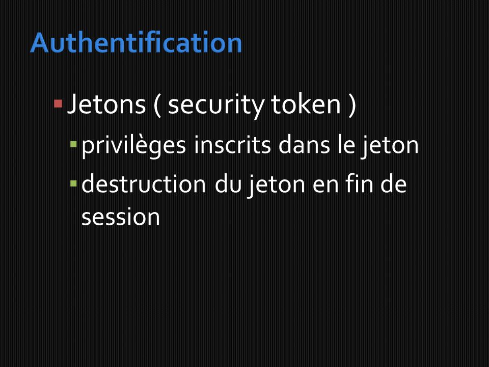Jetons ( security token )