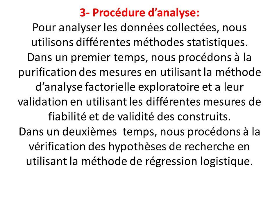 3- Procédure d'analyse: Pour analyser les données collectées, nous utilisons différentes méthodes statistiques.