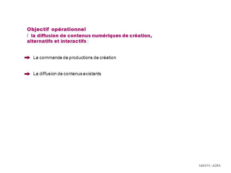 Objectif opérationnel / la diffusion de contenus numériques de création, alternatifs et interactifs : La commande de productions de création La diffusion de contenus existants