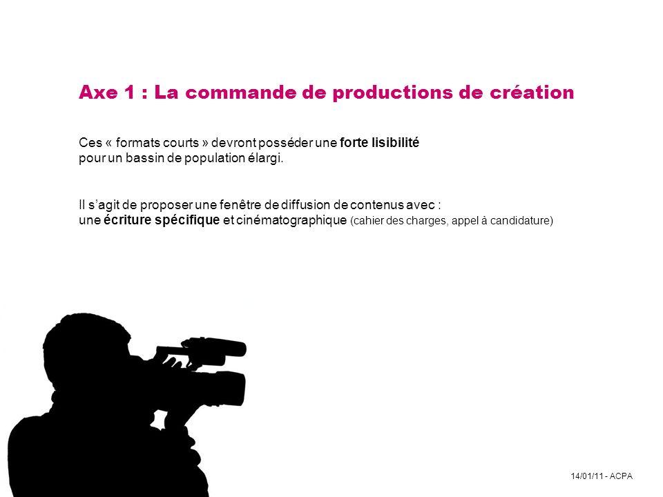 Axe 1 : La commande de productions de création Ces « formats courts » devront posséder une forte lisibilité pour un bassin de population élargi.