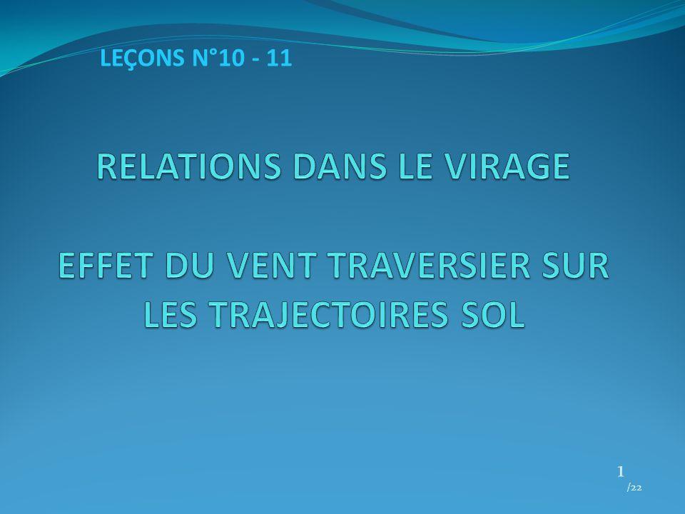 LEÇONS N°10 - 11 RELATIONS DANS LE VIRAGE EFFET DU VENT TRAVERSIER SUR LES TRAJECTOIRES SOL /22