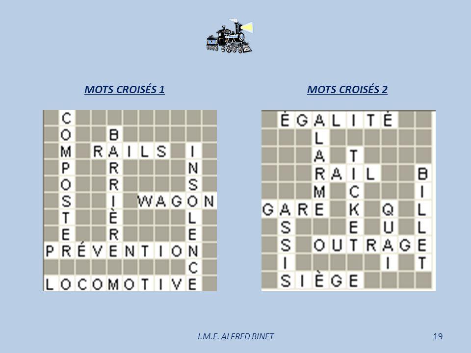 MOTS CROISÉS 1 MOTS CROISÉS 2 I.M.E. ALFRED BINET