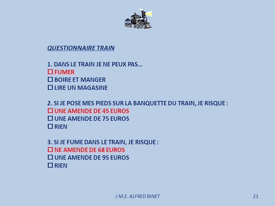 QUESTIONNAIRE TRAIN 1. DANS LE TRAIN JE NE PEUX PAS…  FUMER