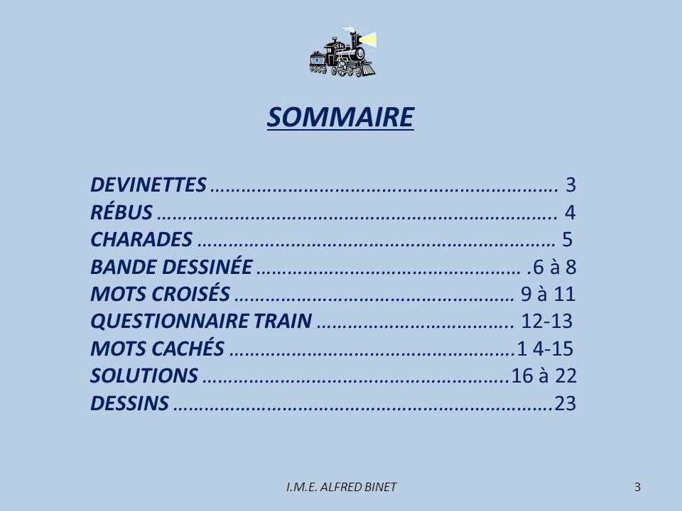 SOMMAIRE DEVINETTES …………………………………………………………. 3